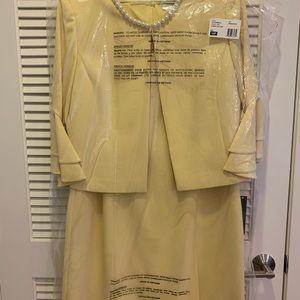 Tahari ASL Womens Ruffle Sleeve Open Jacket Dress Set